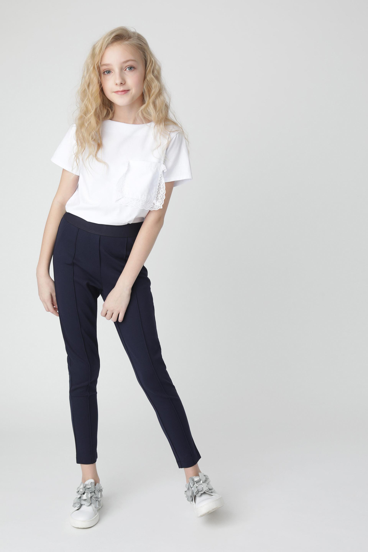 Купить Синие брюки из джерси Gulliver 220GSGC5602, размер 170, Брюки для девочек