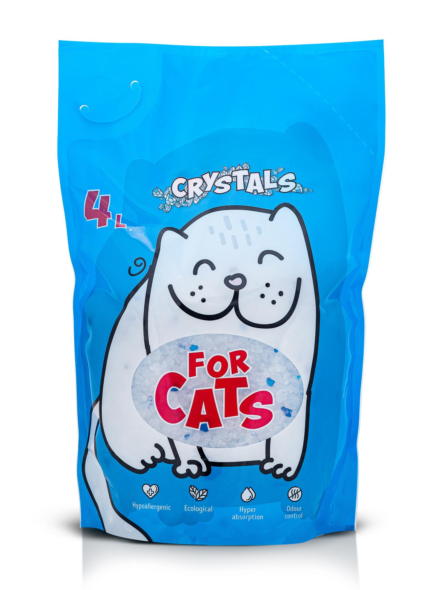 Впитывающий наполнитель для кошек For Cats силикагелевый,