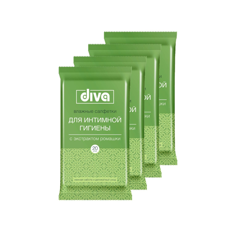 Купить Влажные салфетки для интимной гигиены DIVA intimate № 20 (в наборе 4 упаковки)