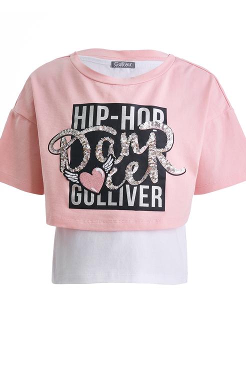 Купить 11903GMC1202, Футболка и майка для девочки Gulliver, цв.розовый, р-р 104,
