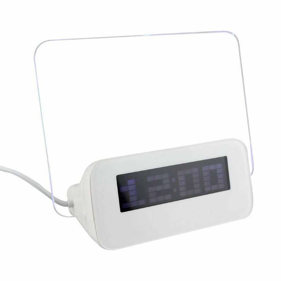 Часы будильник с флуоресцентной доской объявлений