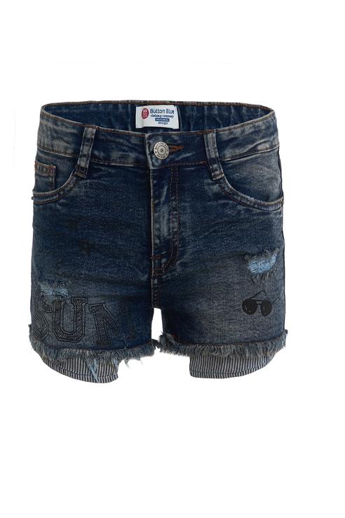 Купить 119BBGC6005D100, Шорты для девочки Button Blue, цв.синий, р-р 140, Шорты для девочек