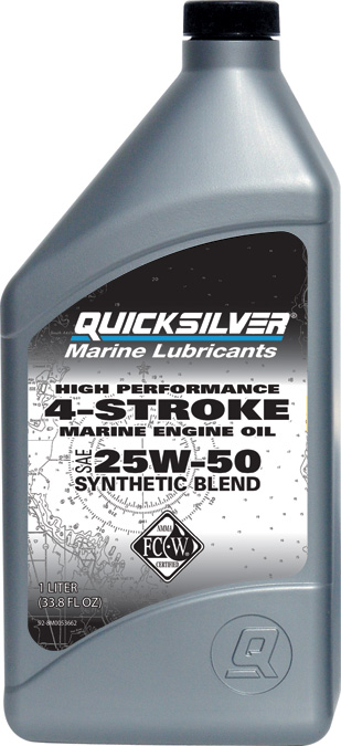Масло моторное Quicksilver 4-Stroke Synthetic Blend 25W50 1 л полусинтетика (92-8M0096256)