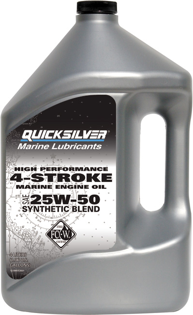 Масло моторное Quicksilver 4-Stroke Synthetic Blend 25W50 4 л полусинтетика (92-858084QE1)