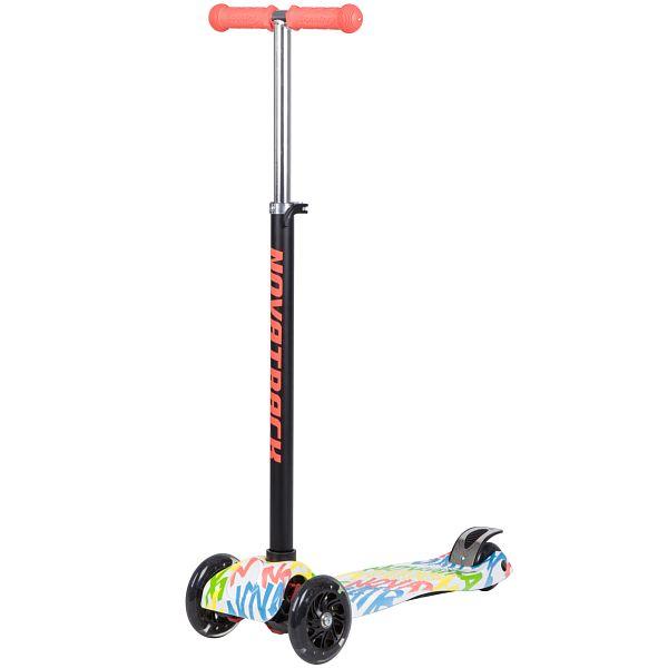 Купить Самокат-кикборд Novatrack RainBow неоновый со светящимися колесами, Самокаты детские трехколесные