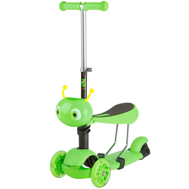 Купить Самокат-кикборд 2 в 1 Novatrack Disco Kids, зеленый,