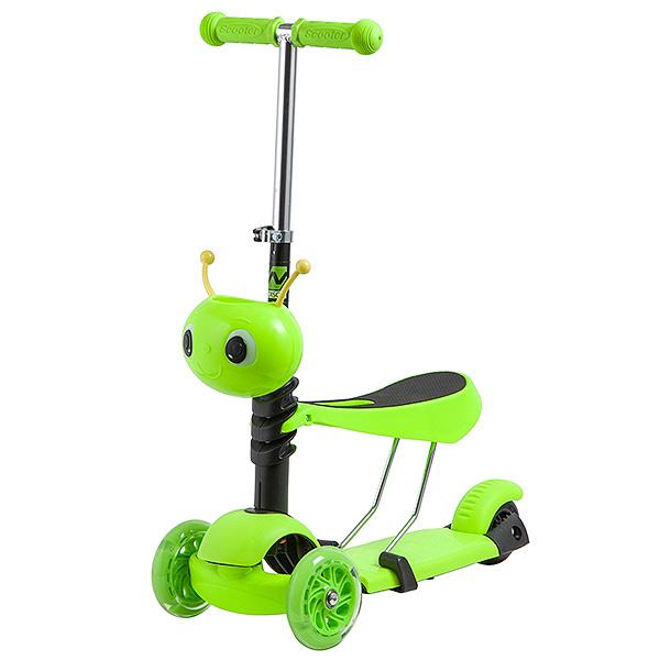 Купить Самокат-кикборд с сиденьем Novatrack Disco-kids зеленый со светящимися колесами,