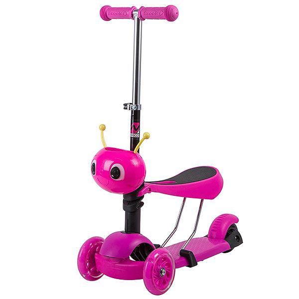 Купить Самокат-кикборд с сиденьем Novatrack Disco-kids розовый со светящимися колесами,