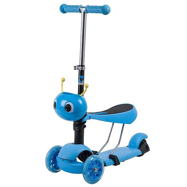 Купить Самокат-кикборд с сиденьем Novatrack Disco-kids голубой со светящимися колесами,