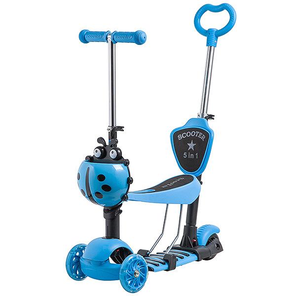 Купить Самокат-трансформер Novatrack Disco-kids голубой со светящимися колесами, Самокаты детские трехколесные