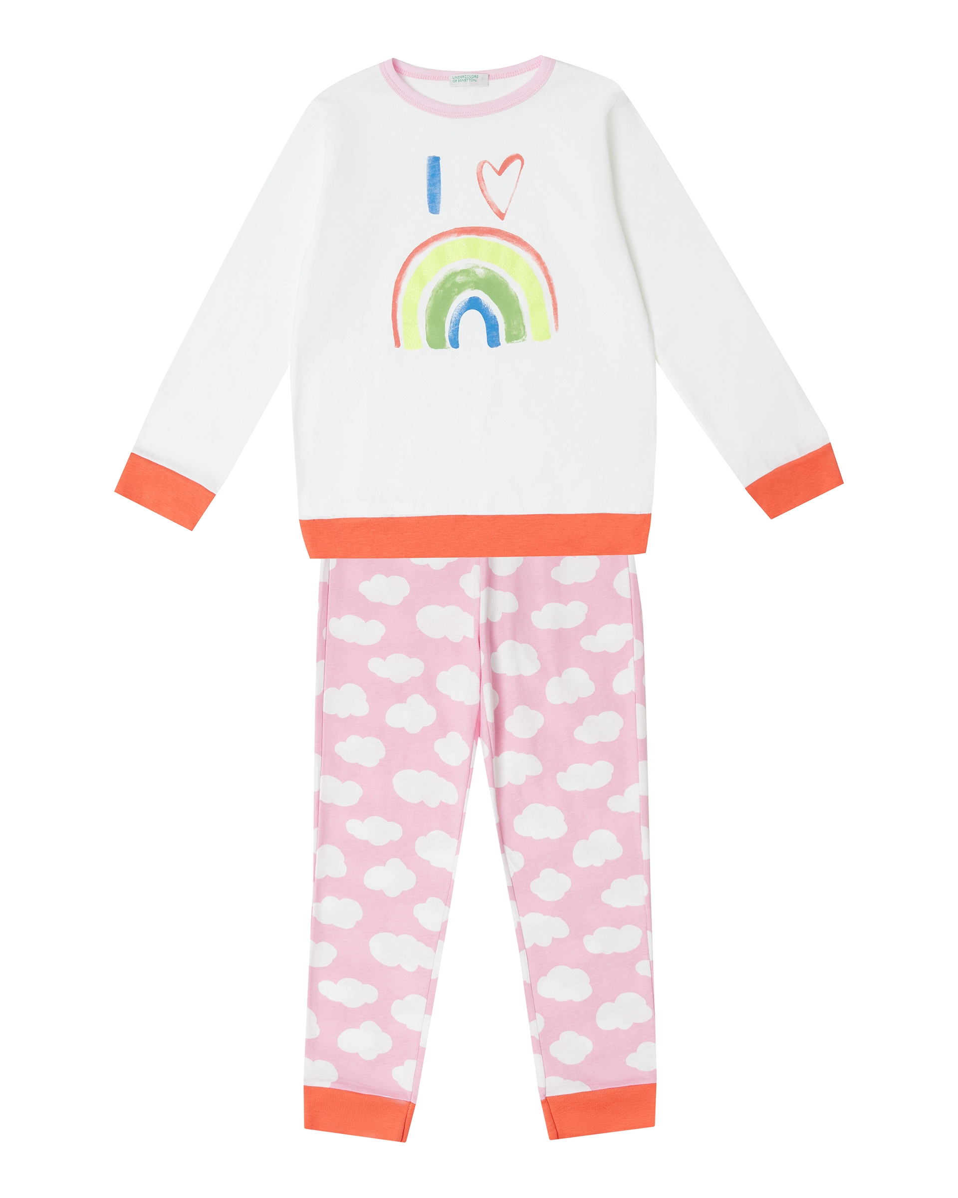 Купить 20P_30960P26Q_101, Пижама для девочек Benetton 30960P26Q_101 р-р 110, United Colors of Benetton, Пижамы для девочек