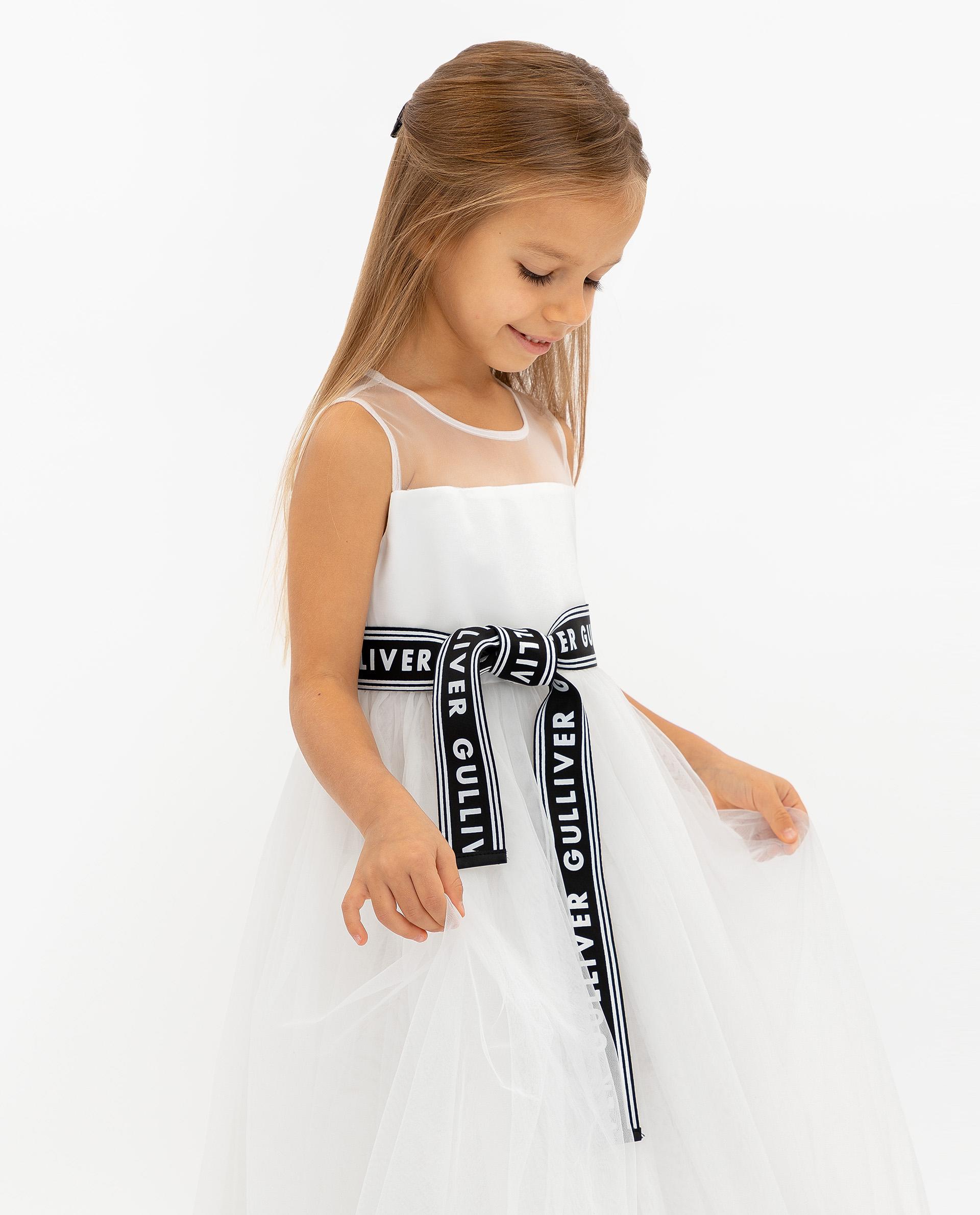 Купить 120GPGMC2508, Платье для девочек Gulliver, цв. белый, р.104,