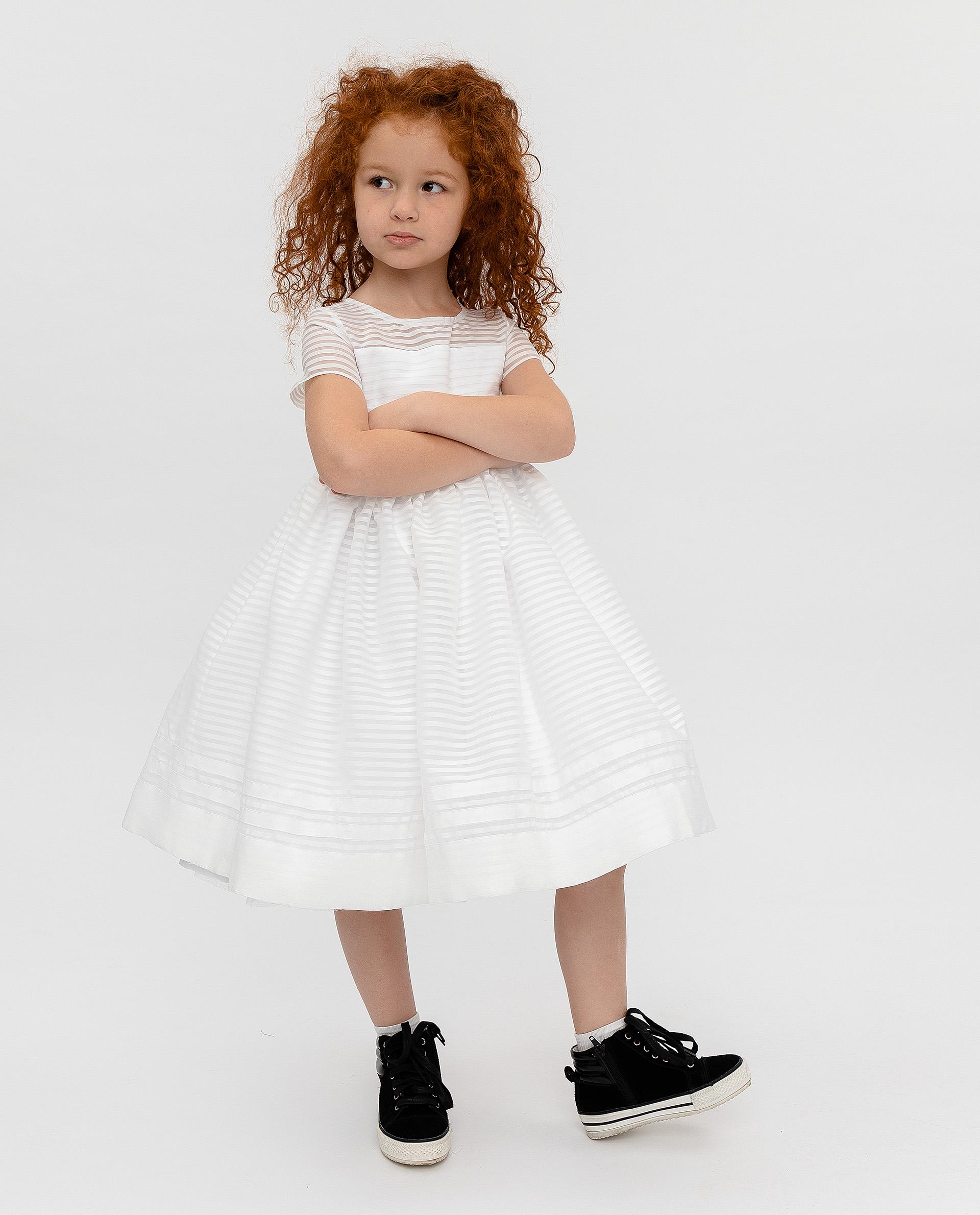 Купить 120GPGMC2506, Платье для девочек Gulliver, цв. белый, р.104,