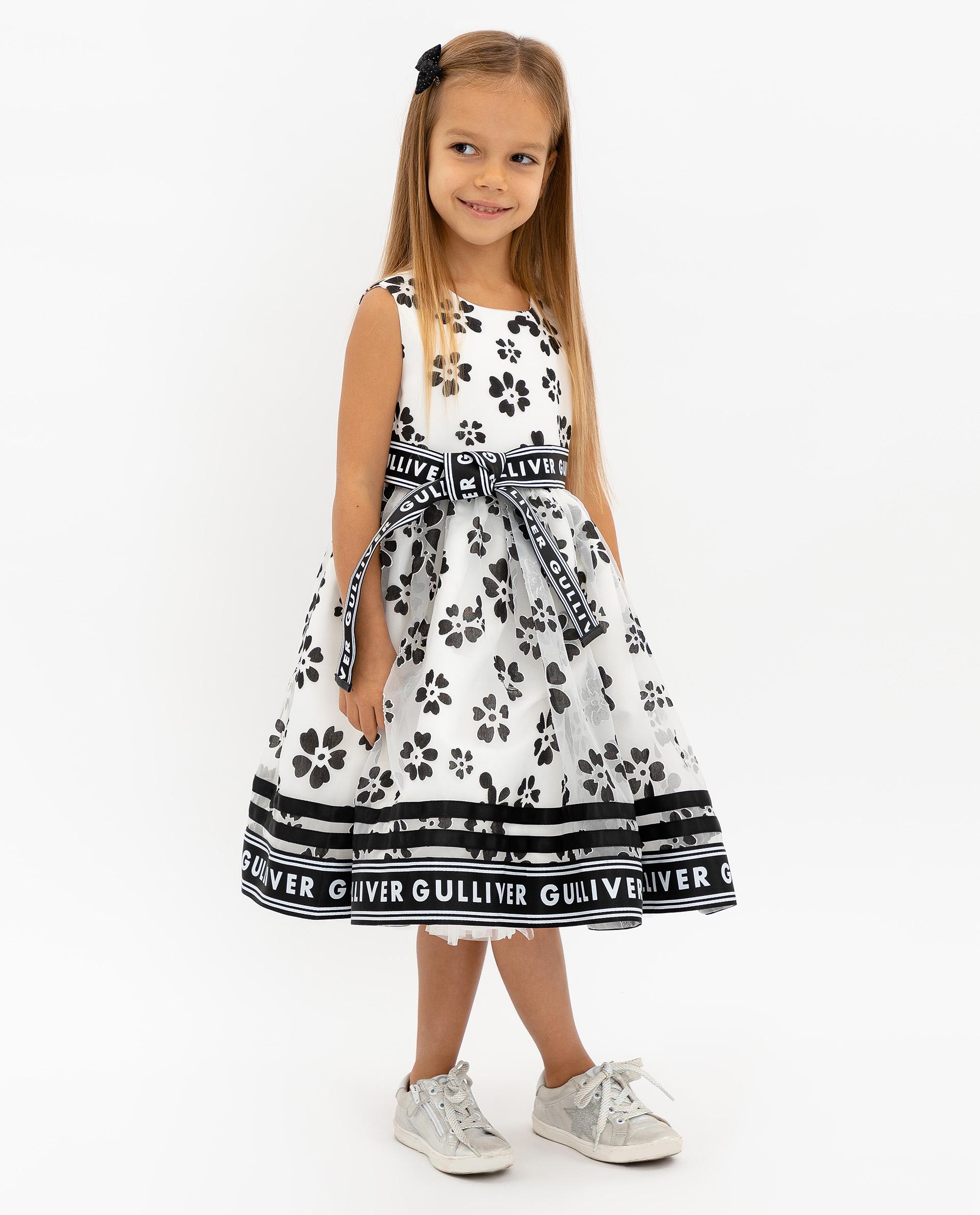 Купить 120GPGMC2505, Платье для девочек Gulliver, цв. белый, р.104,