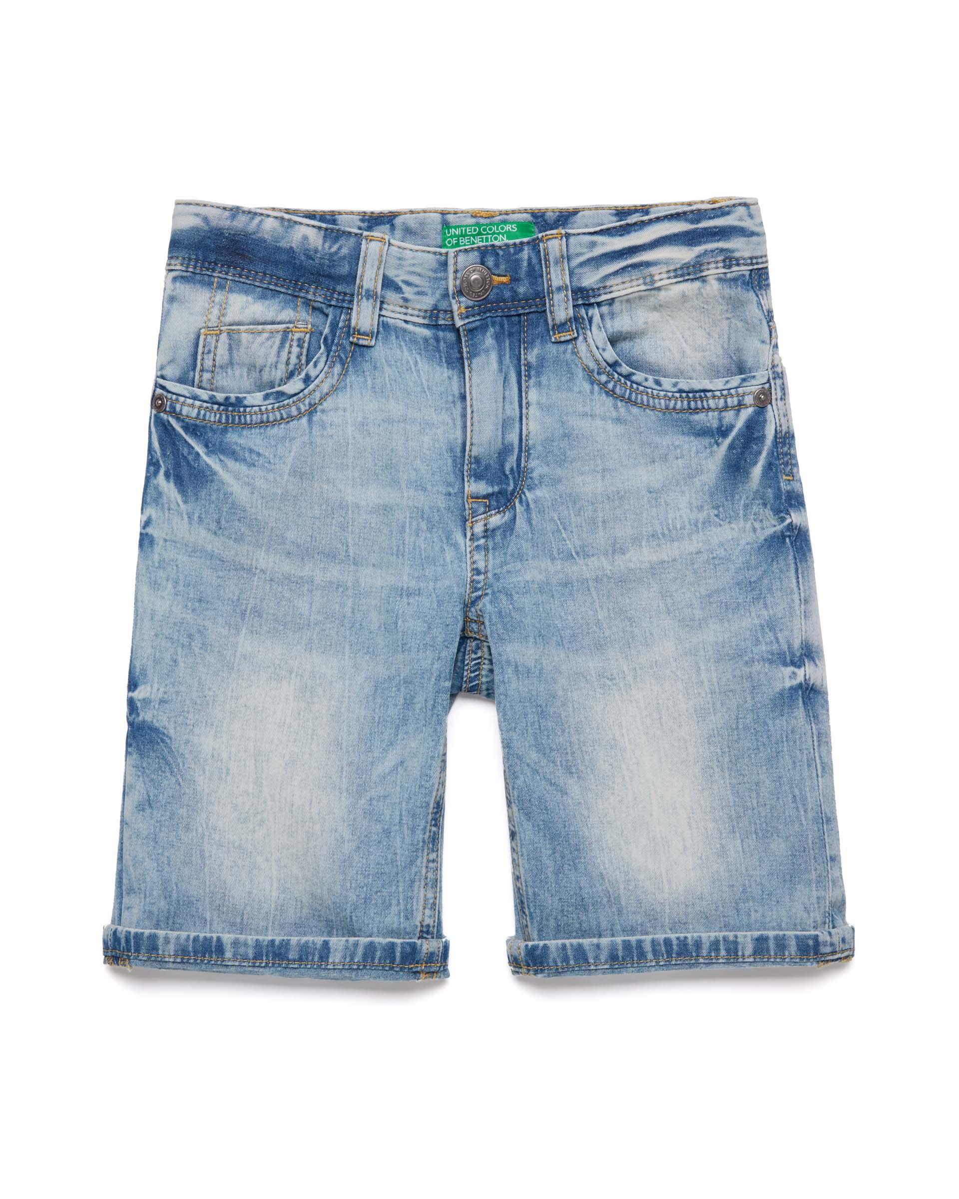 Купить 20P_4XR659EC0_901, Джинсовые шорты для мальчиков Benetton 4XR659EC0_901 р-р 128, United Colors of Benetton, Шорты для мальчиков