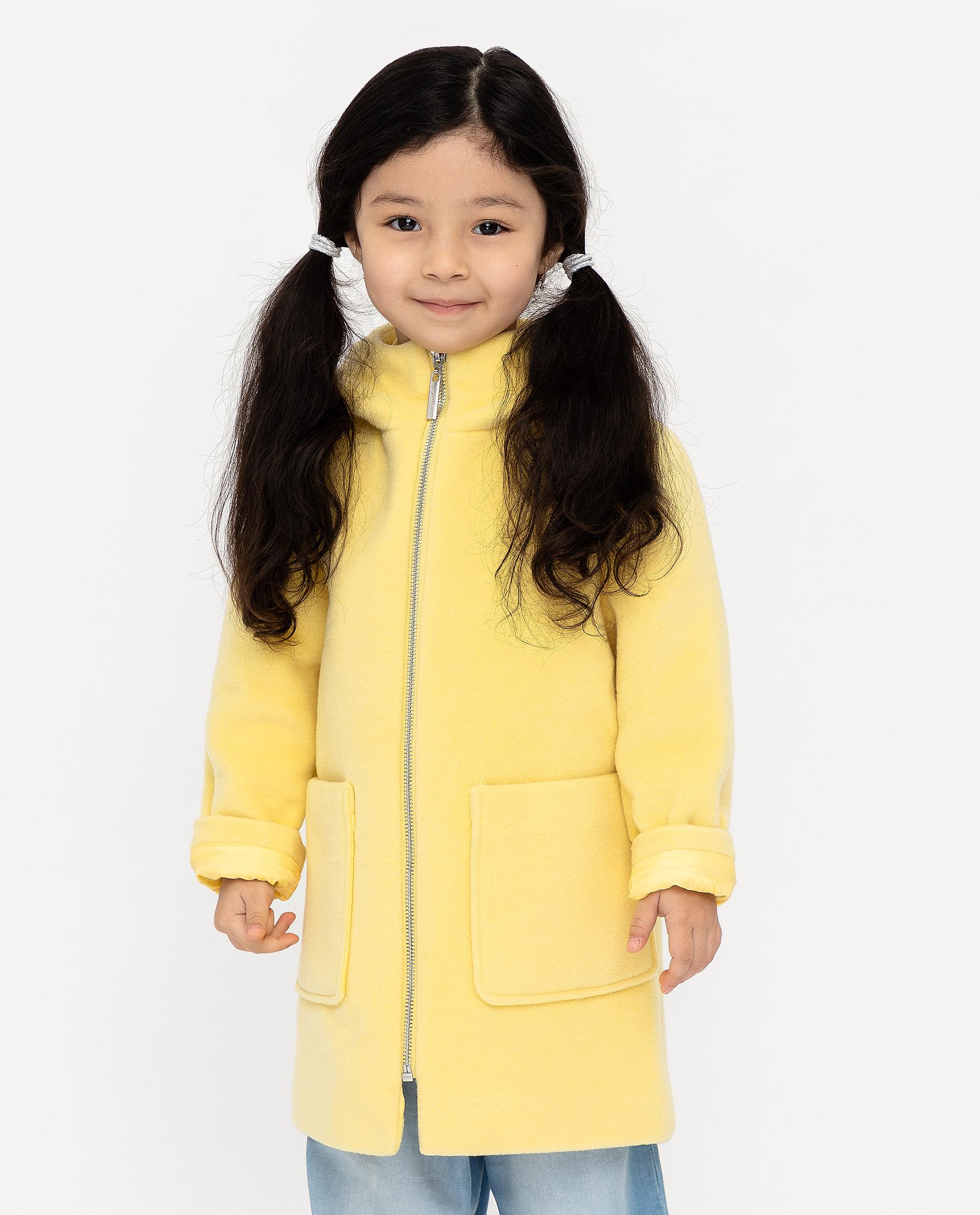 Пальто для девочек Gulliver, цв. желтый, р.128