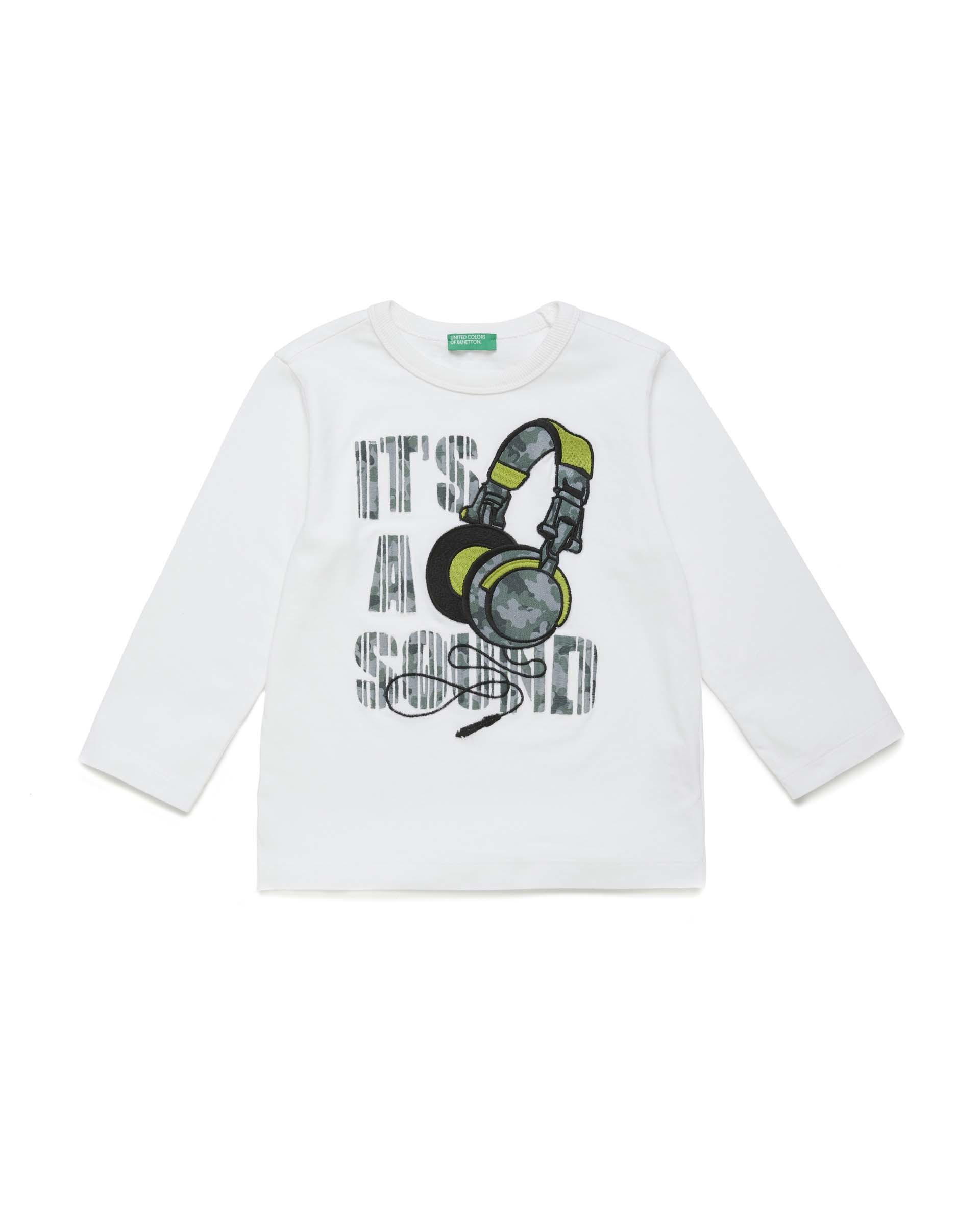 Купить 20P_3YR3C1AWP_101, Футболка для мальчиков Benetton 3YR3C1AWP_101 р-р 92, United Colors of Benetton, Кофточки, футболки для новорожденных