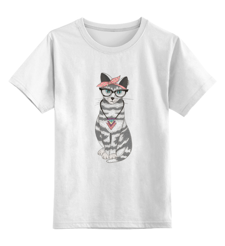Купить 0000000705382, Детская футболка классическая Printio Мяу мяу мяу, р. 128,