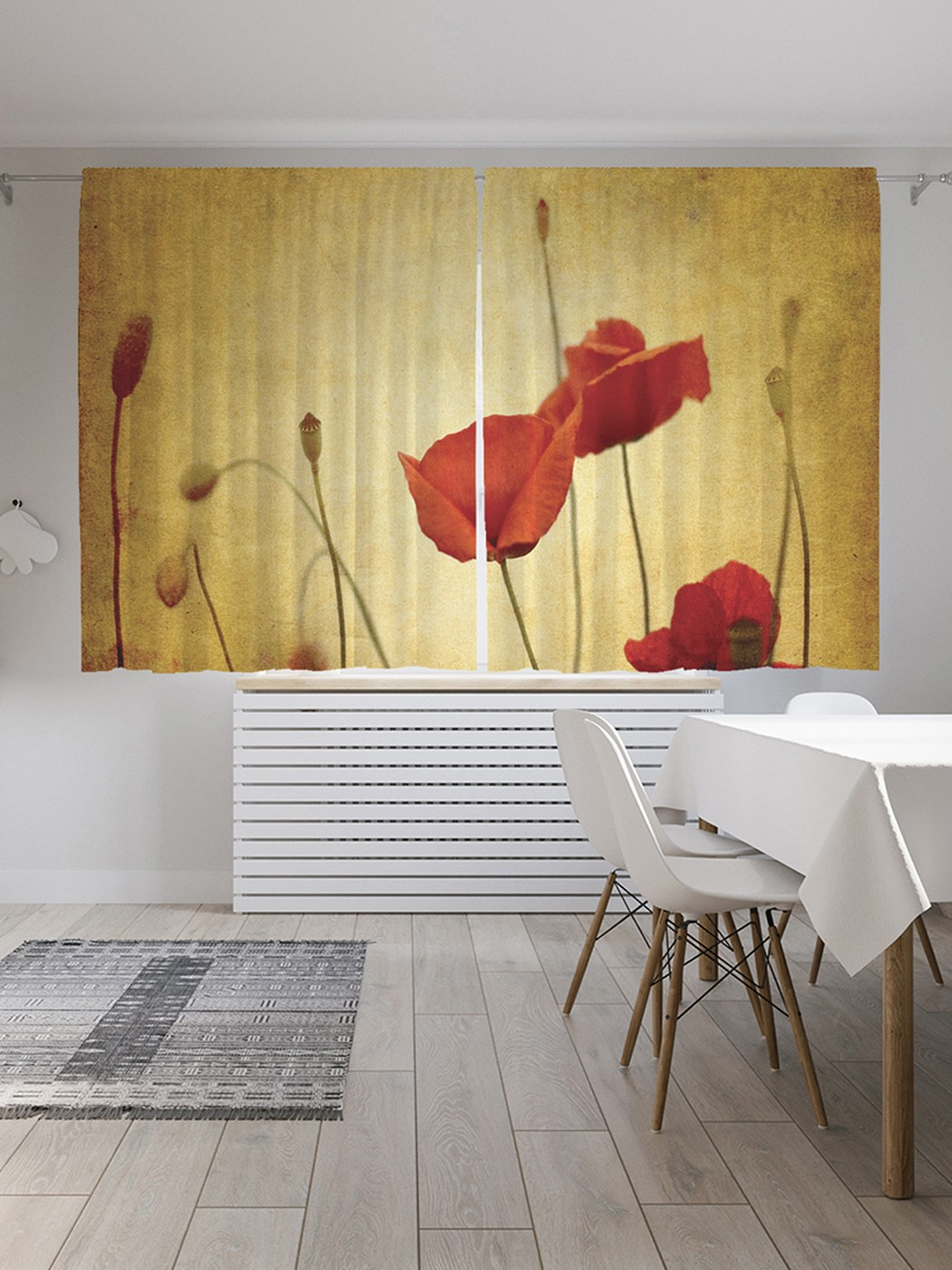 Шторы под лён «Вечерний мак», серия Oxford DeLux, 290х180 см фото