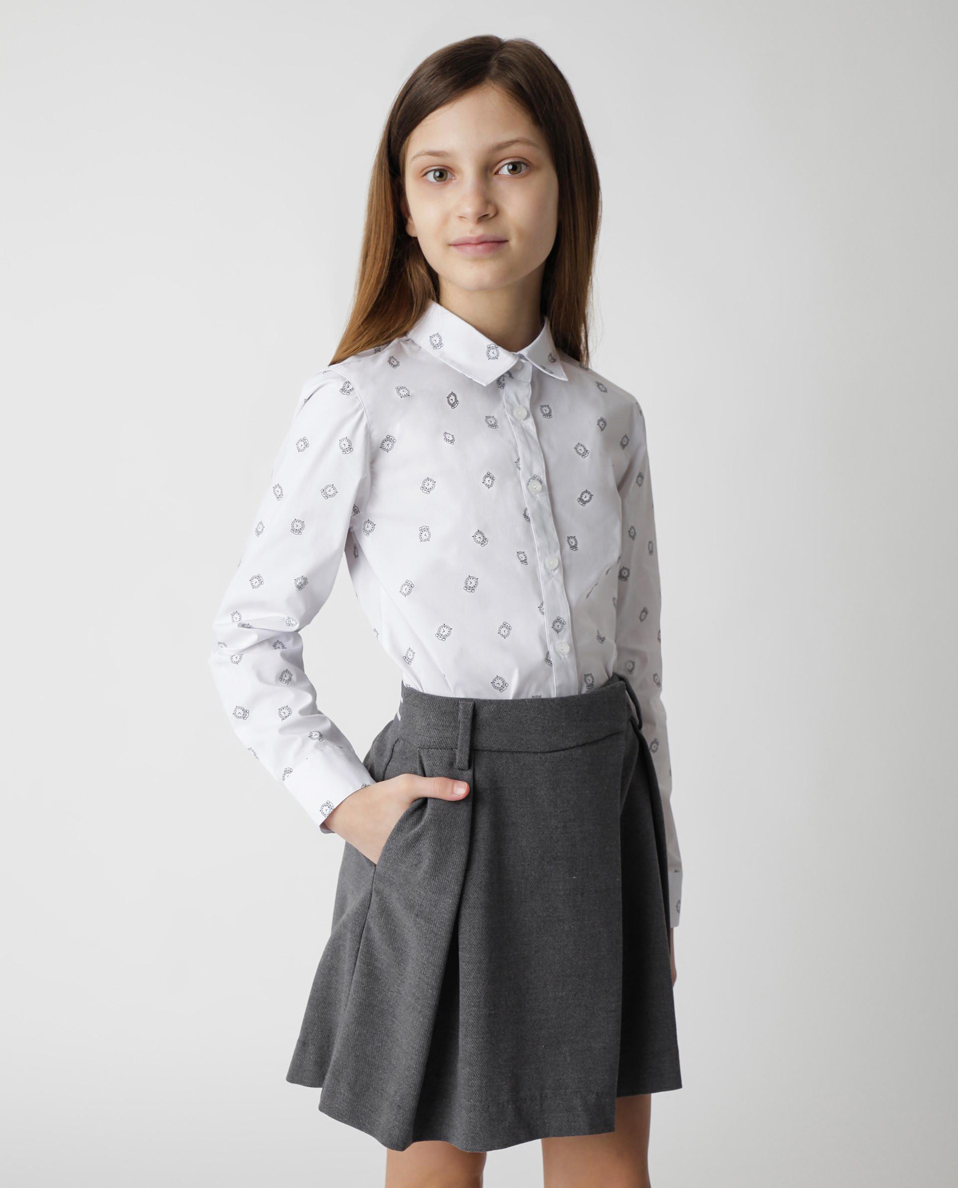 Купить Белая блузка с принтом Gulliver, модель 220GSGC2207, р. 170,