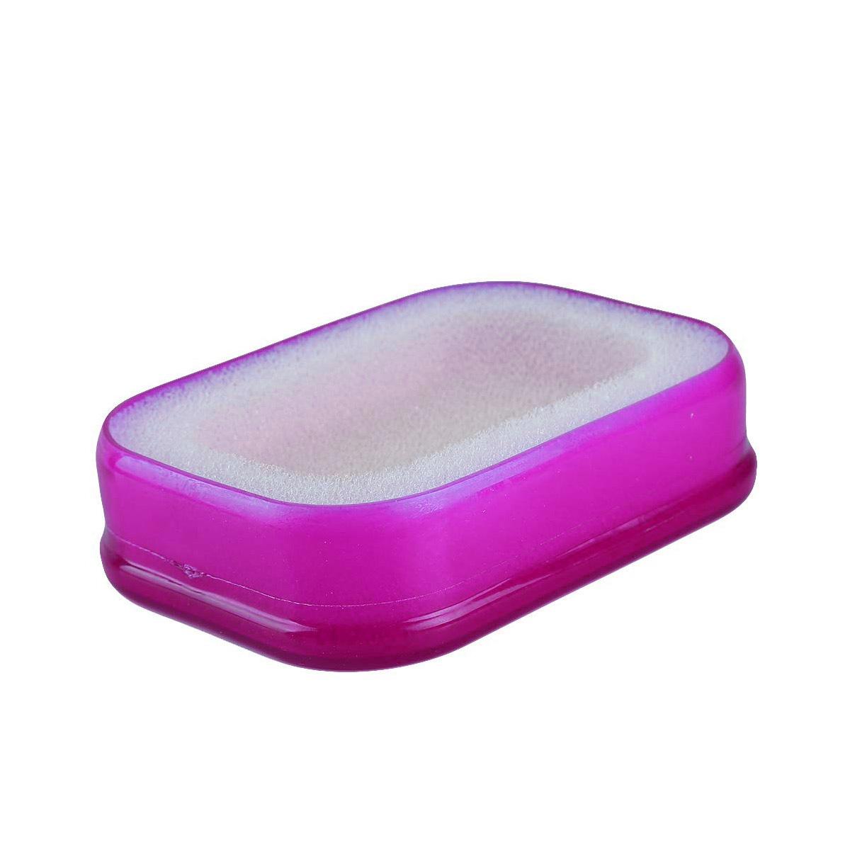 Мультифункциональная губка мыльница в пластиковой коробке, фиолетовый,