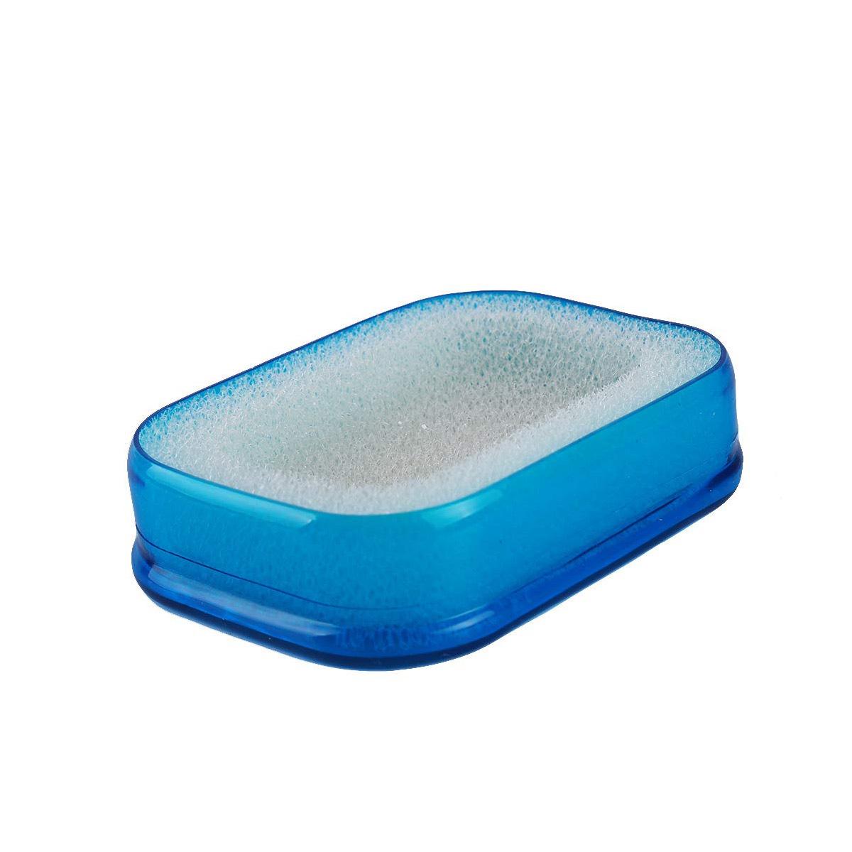 Мультифункциональная губка мыльница в пластиковой коробке, синий,