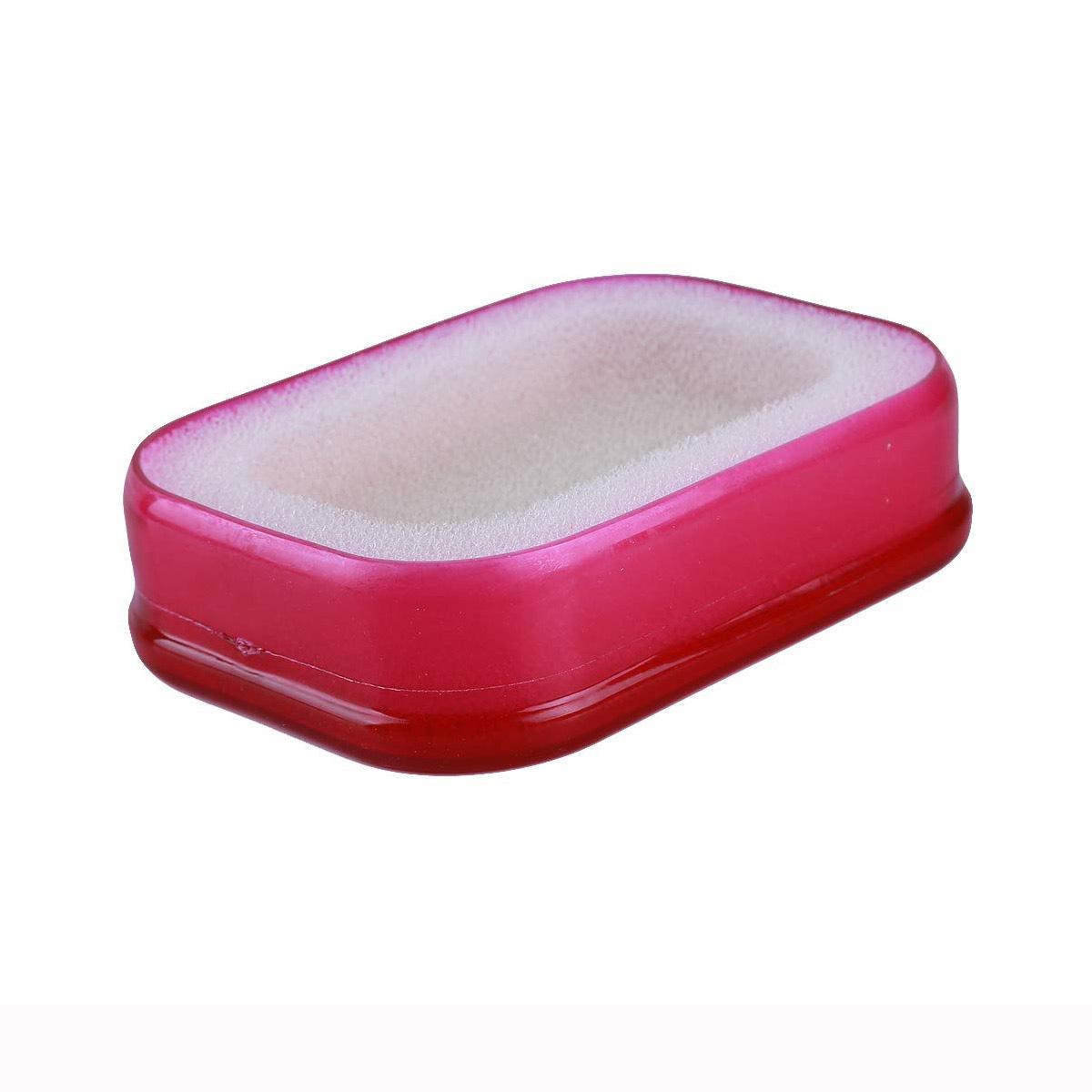 Мультифункциональная губка мыльница в пластиковой коробке, красный,