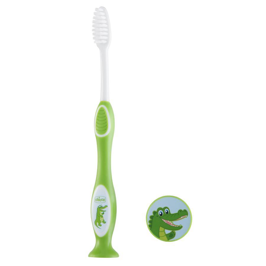 Зубная щетка с присоской Chicco Крокодил, зеленая