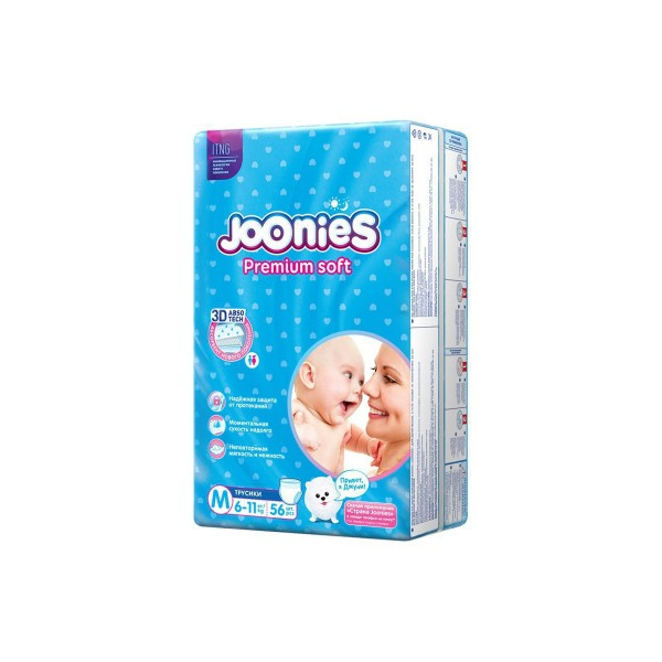 Подгузники-трусики Joonies M (6-11 кг), 56 шт. NEW Joonies Подгузники-трусики, размер M (6-11 кг), 56 шт.