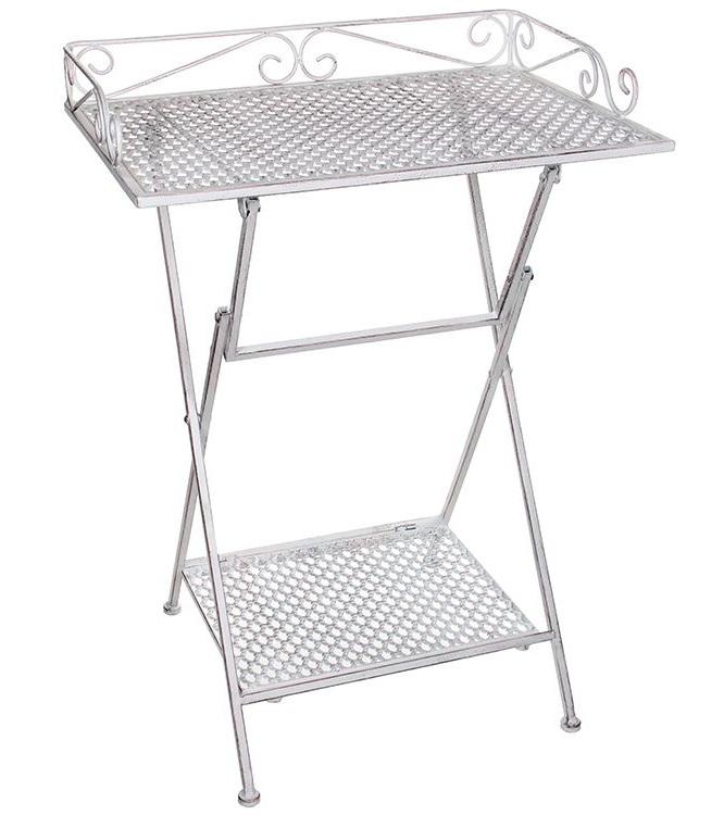 Садовый сервировочный столик АЖУРНЫЙ ПРОВАНС, металл, белый,
