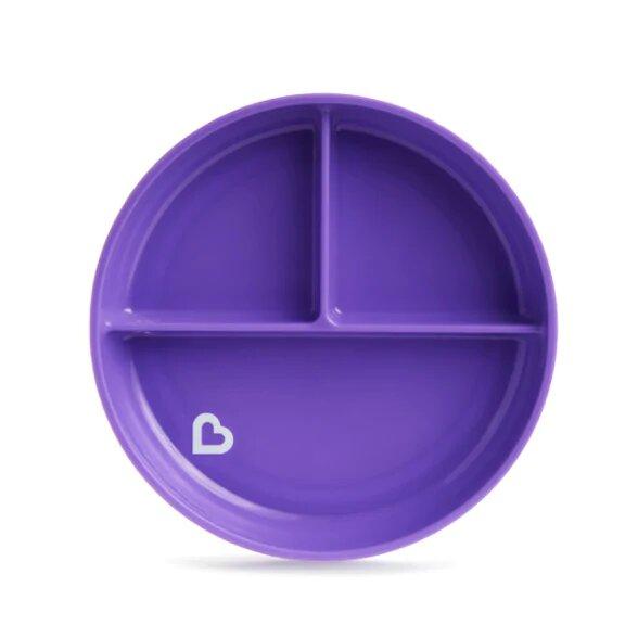 Детская тарелочка порционная на присоске Munchkin фиолетовый,