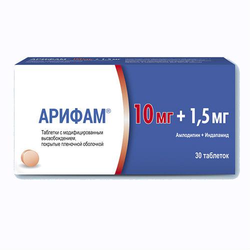 Арифам таблетки, покрытые оболочкой плен.с мод.высв. 10 мг+1,5 мг 30 шт.