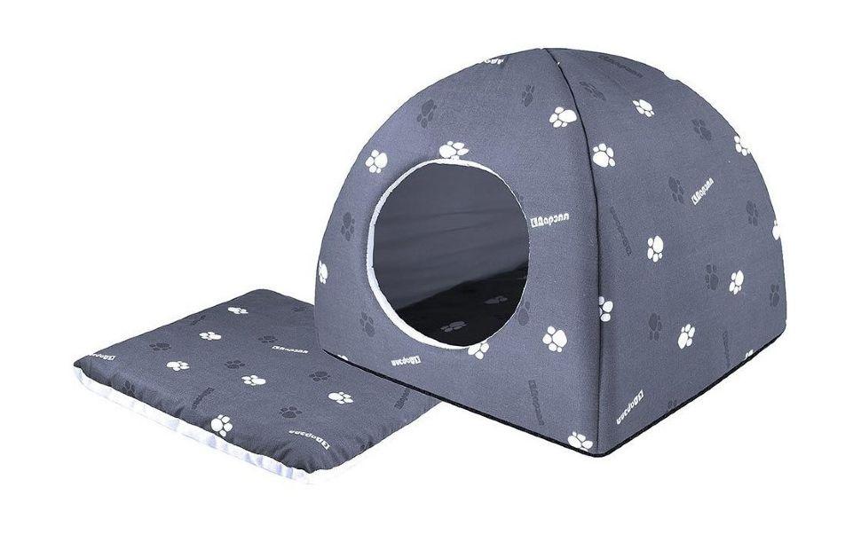 Домик для кошек и собак Дарэлл Юрта, серый, 36x36x35см