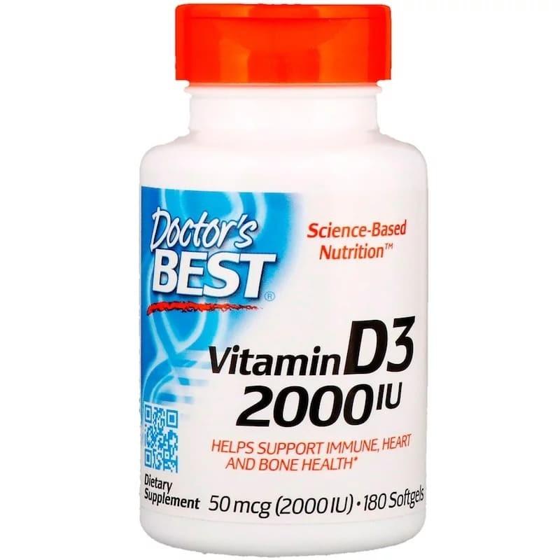 Купить Витамин Д Doctor's Best Vitamin D3 2000 IU капсулы 180 шт.