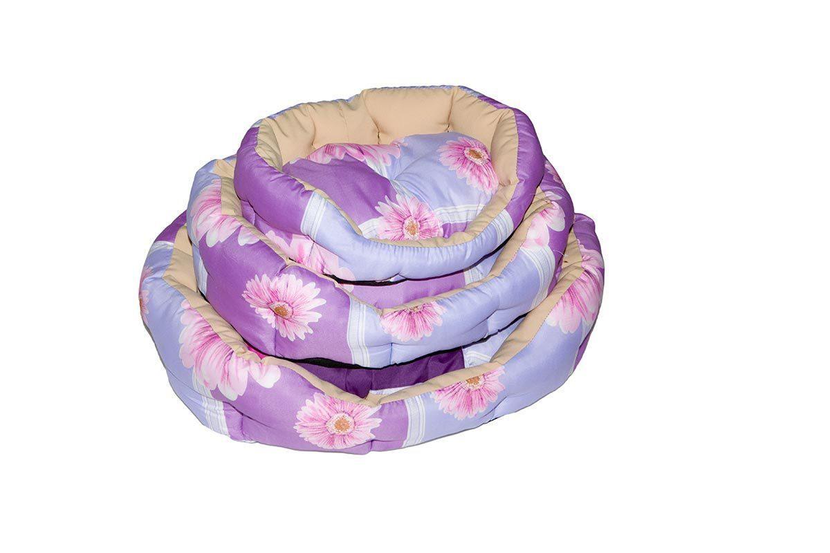 Лежанка для собак Дарэлл овальный пухлый с подушкой, разноцветный, 40x49x16 см фото