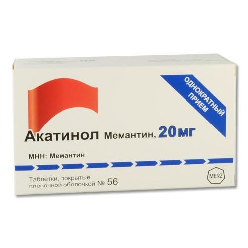 Акатинол Мемантин таблетки, покрытые пленочной оболочкой 20 мг 56 шт.