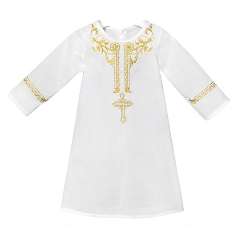 Крестильная рубашка с вышивкой золотом Золотой Гусь УТ-0002343-AM