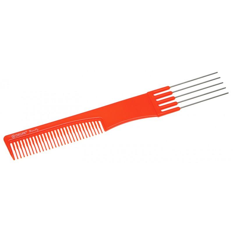 Купить Расческа Dewal Beauty для начеса с металлическими зубцами, оранжевая, 19 см