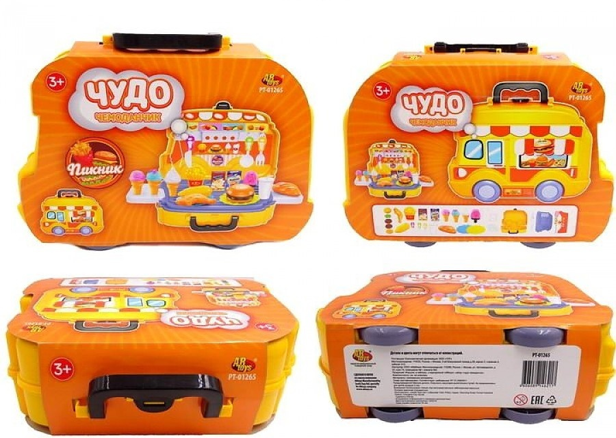 Игровой набор Abtoys Чудо-чемоданчик на колесиках Пикник 26 предметов, 127291-TN