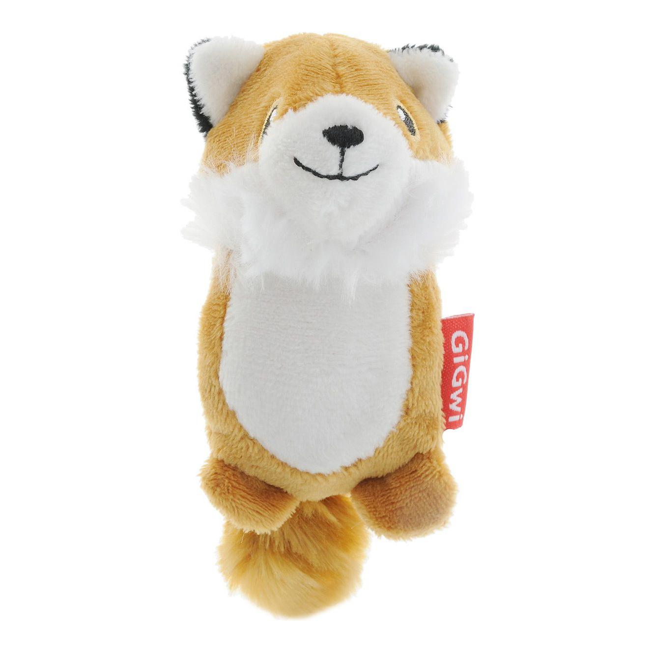 Мягкая игрушка для собак GiGwi Лисичка с 2-мя пищалками, длина 12 см