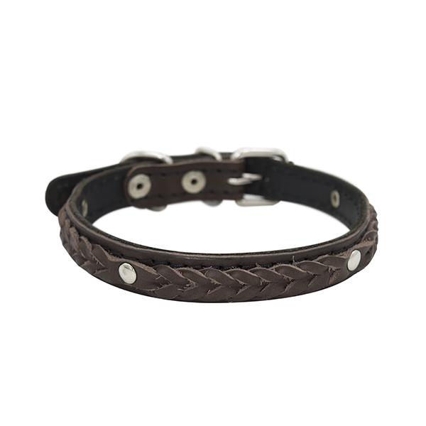 Ошейник для собак ZooExpress Колосок, двухслойный, кожаный, коричневый, 18мм х 42см