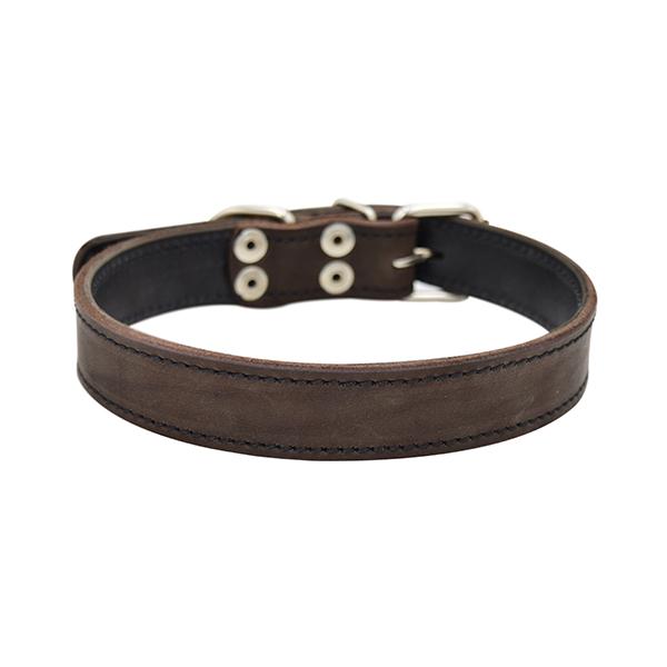 Ошейник для собак ZooExpress Строченый, двухслойный, кожаный, коричневый, 26мм х 50см