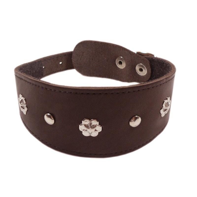 Ошейник для собак ZooExpress Камбала, кожаный, коричневый, 55мм х 30см