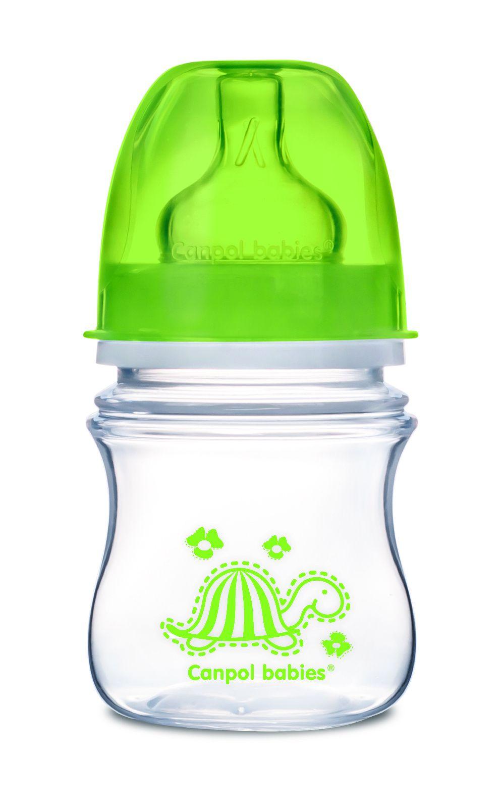 Купить EasyStart Colourful animals арт. 35/205, Бутылочка Canpol EasyStart Animals шир. горл., антикол., PP, 3+, 120 мл, зеленый, Бутылочки для кормления