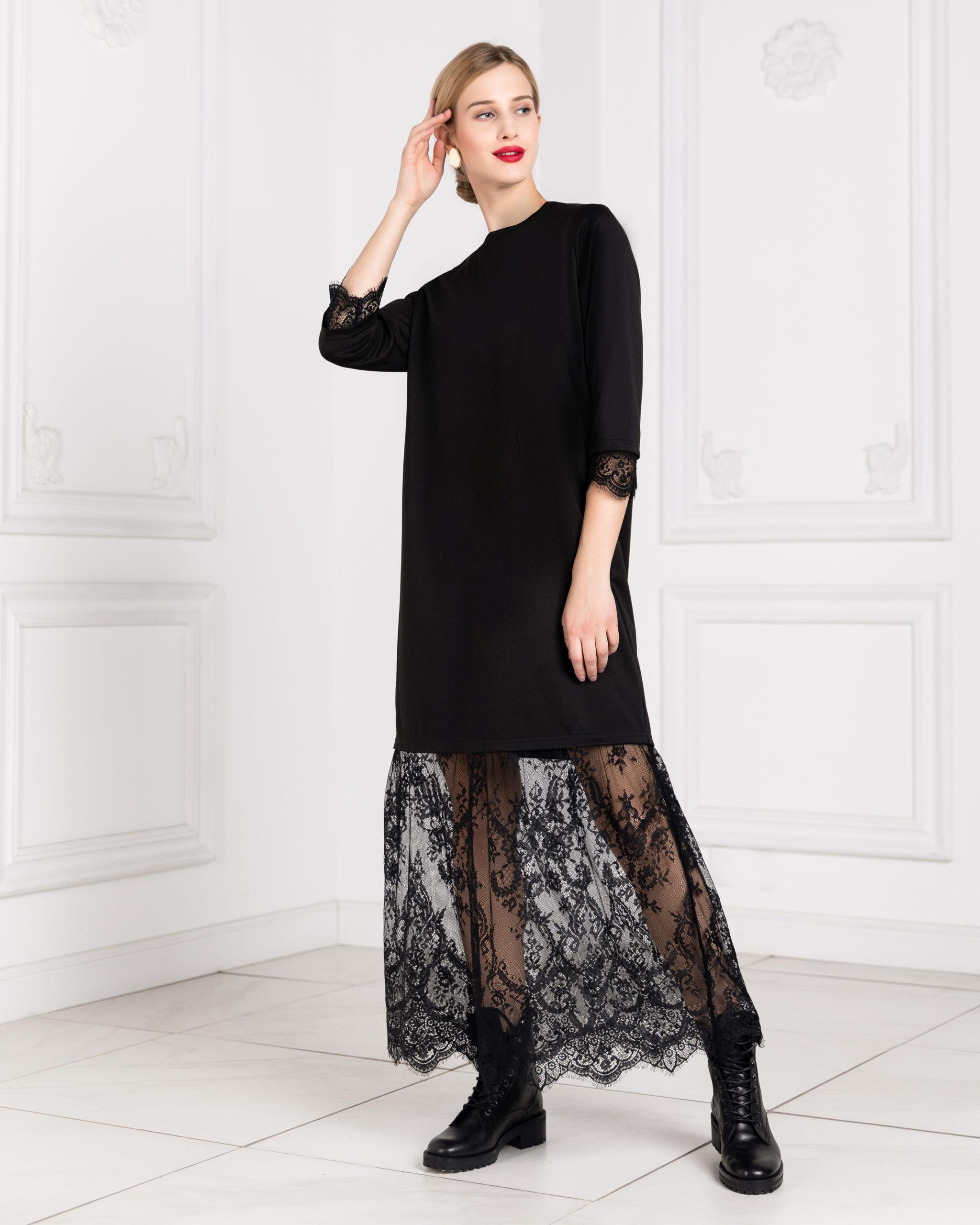 Повседневное платье женское BARMARISKA с кружевом черное 48 RU фото
