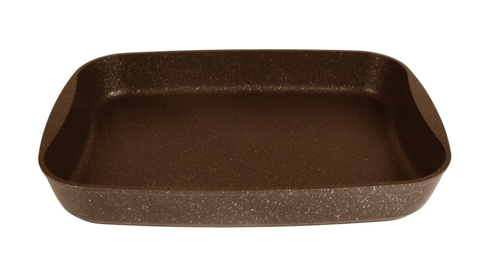 Противень литой 36,5х26х5,5см Кофейный мрамор ТМ KUKMARA