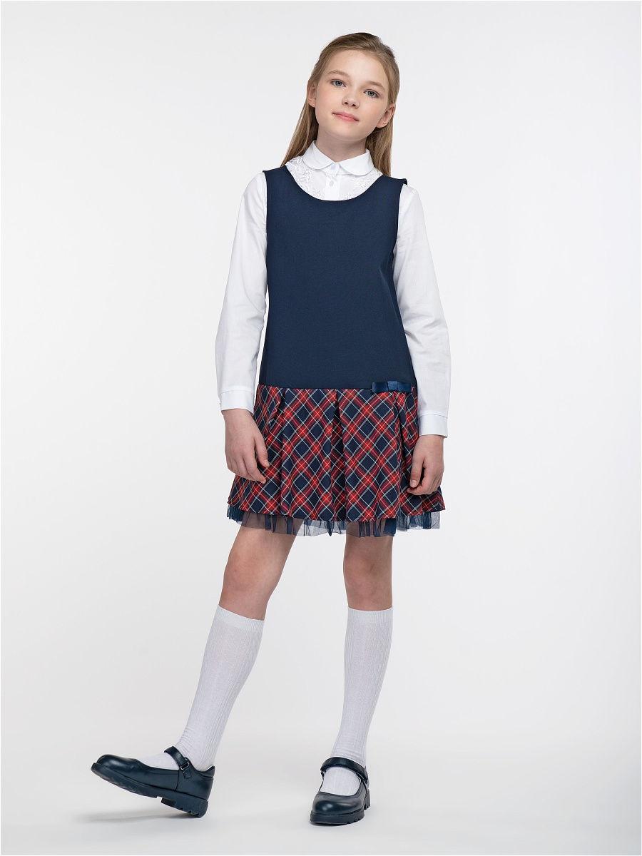 Купить 10663_plus size, Сарафан для девочек СМЕНА цв.темно-синий 10663 р.152/80, Смена, Сарафаны для девочек