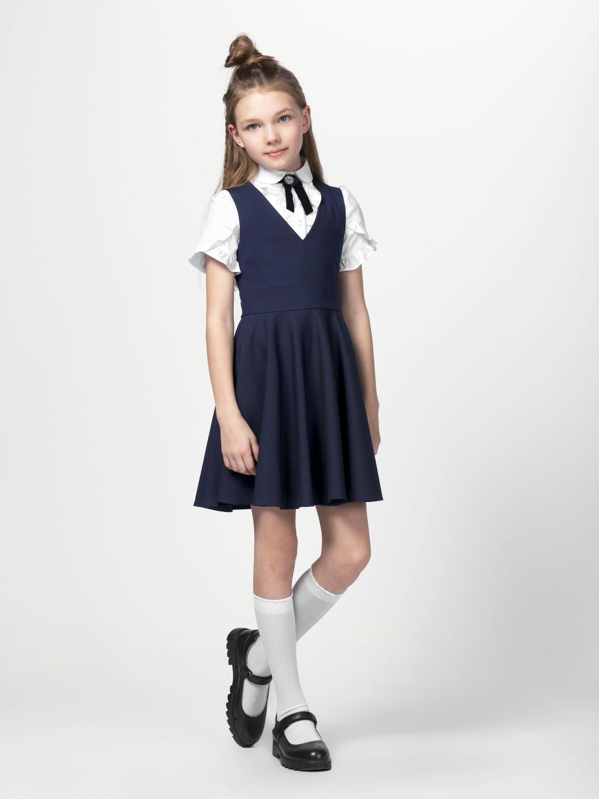 Купить 10652_plus size, Сарафан для девочек СМЕНА цв.темно-синий 10652 р.134/68, Смена, Сарафаны для девочек