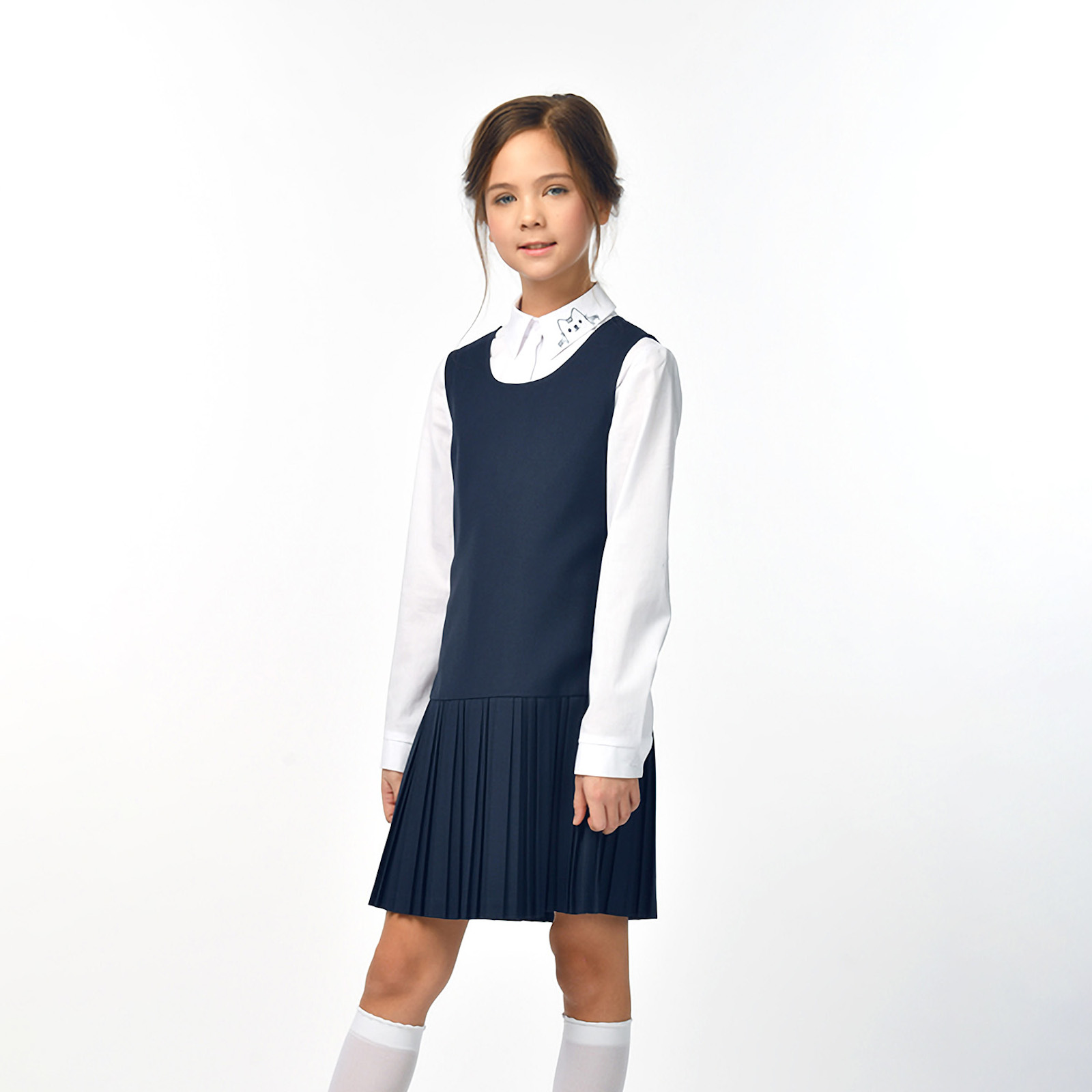 Купить 10610_plus size, Сарафан для девочек СМЕНА цв.синий 10610 р.140/72, Смена, Сарафаны для девочек