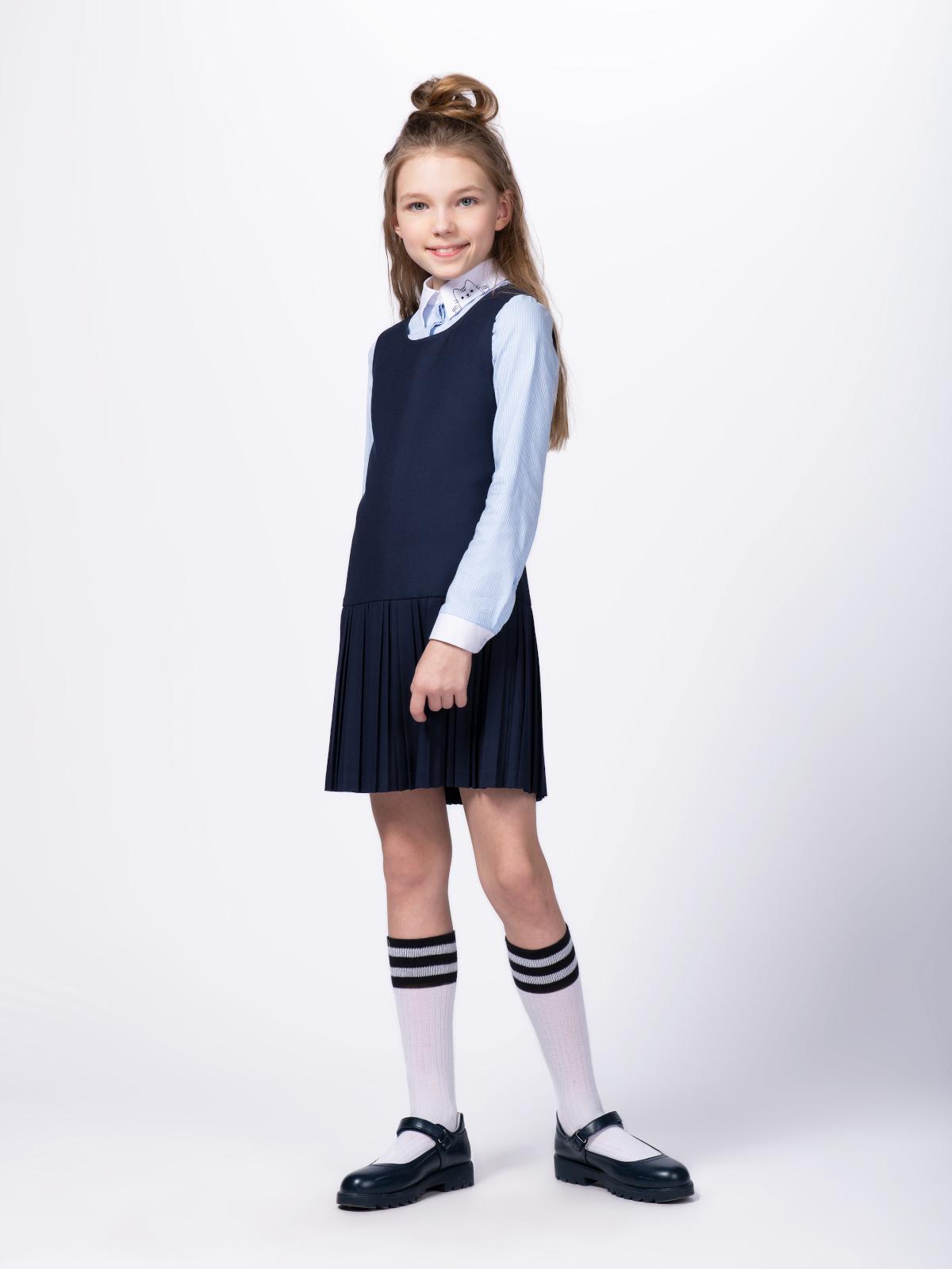 Купить 10606_plus size, Сарафан для девочек СМЕНА цв.синий 10606 р.134/68, Смена, Сарафаны для девочек